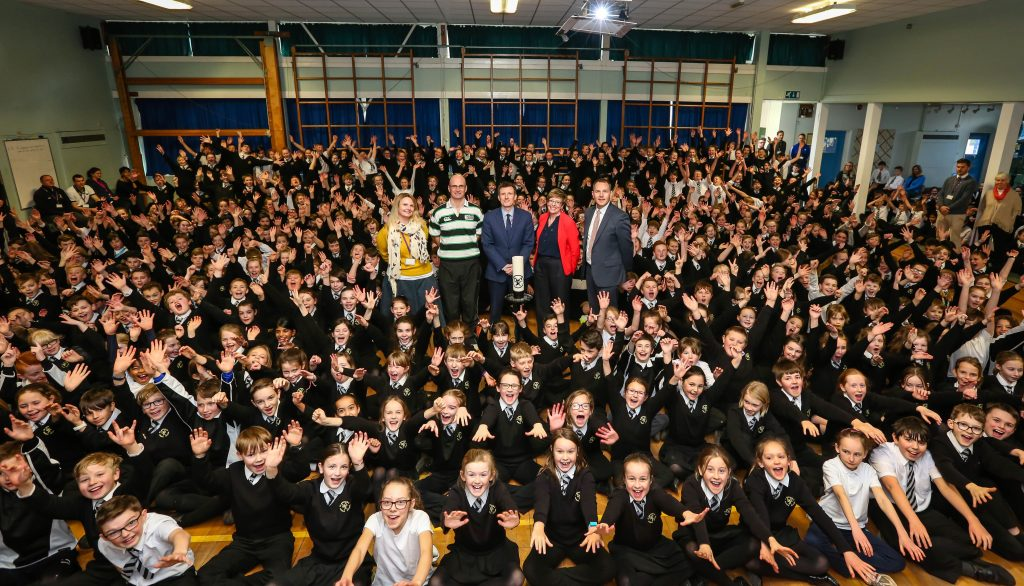 Staff and students from St Michael's CE Middle School and Wimborne Academy Trust celebrate a Good Ofsted.