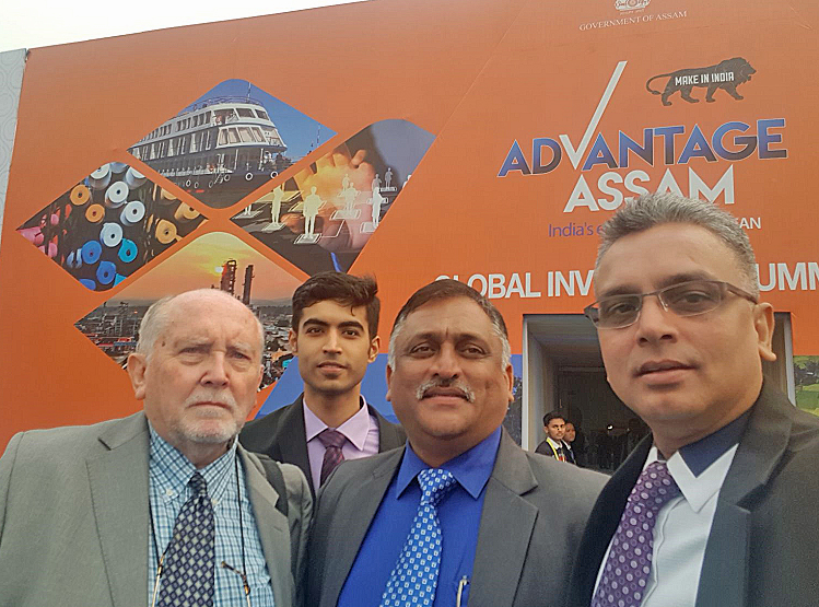 INDIA: From left: Capt Malcolm Parrott is pictured with executives of the Patsloke Group Mr Karan Chhabra, Mr Milind Koltey and Mr K Srinivas Patnaik (MD & CEO of TMG Asia and Patsloke Marine) at the Assam Advantage summit