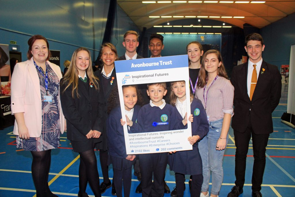 INSPIRATIONAL: Avonbourne Trust has appointed its own dedicated head of careers and employability, Pippa Allner (far left), to spearhead its new Inspirational Futures programme. Pippa is joined by students from across the Trust at a special careers fair held at Harewood College.