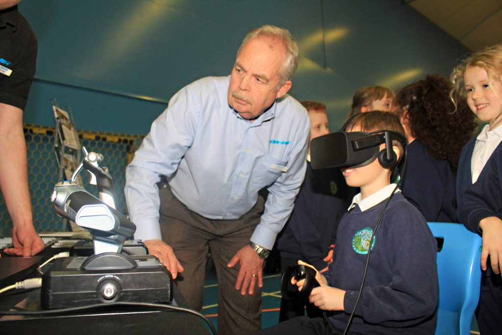 Avonbourne Trust launched its new Inspirational Futures programme at a special careers fair. Here youngsters from Avonwood Primary have virtual reality fun at Cobham's stand.