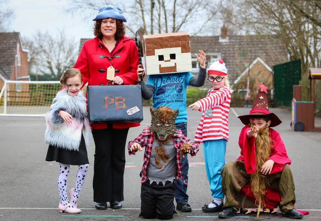Pupils and staff dress as book characters at Hayeswood First School during their Book Day, which was re-arranged after last week's snow.