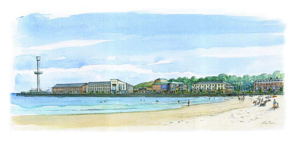 An artist's impression of what a re-developed Weymouth Peninsula could look like.