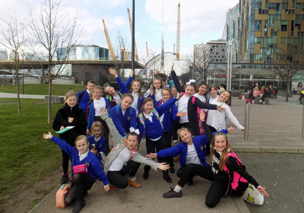 HITTING THE HIGH NOTES: The Hightown Primary School Choir outside the O2 Arena in London where they performed with 7,000 other children in the Young Voices concert.