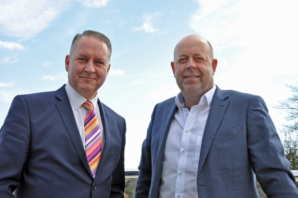 BLUE SKY THINKING: Dorset Chamber chief executive Ian Girling, left, with Blue Sky managing director Gary Neild