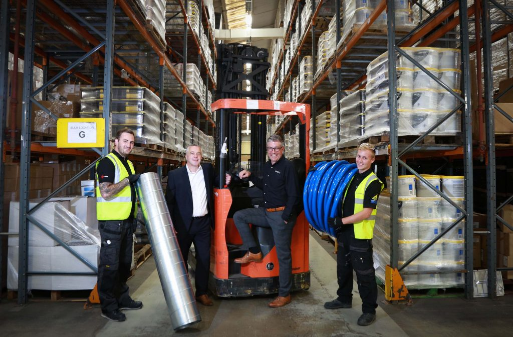 Closewood Ltd provided a new upgraded air conditioning system for fellow Havant based business Ciret. From left, Joe Easton of Closewood Ltd, Closewood LTd managing director Dean Kirby, Ciret managing director Mark Carpenter and Callum Moore