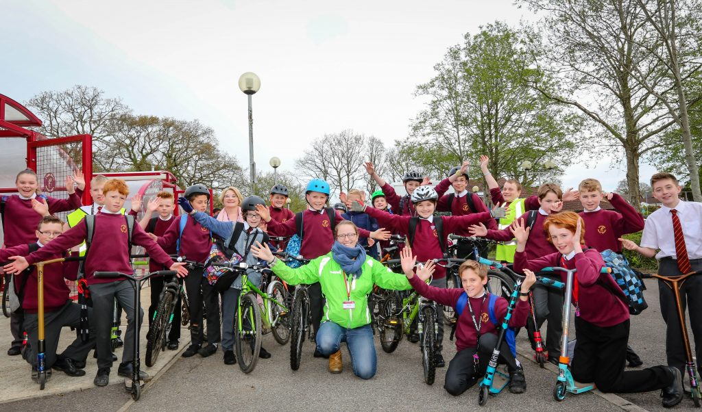 Emmanuel Middle School in Verwood started Big Pedal Week with pupils travelling to school on various two wheeled transport. Rachel Alcock-Hodgson of Sustrans visited for a Dr Bike session.