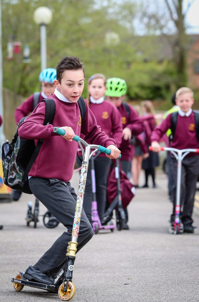 Emmanuel Middle School in Verwood started Big Pedal Week with pupils travelling to school on various two wheeled transport.