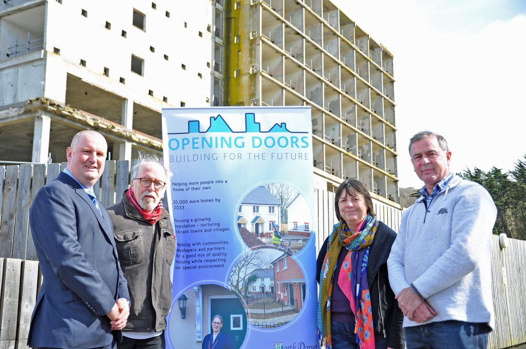 NEW HOMES: From left: Comer Homes Group project manager Jack O'Brien, Coun Ray Nowak, Coun Gill Taylor and Coun Jeff Cant at the Ocean Views site on Portland
