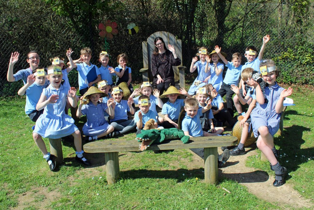 Safari adventures! Children from Witchampton CE First School went on safari and found African animals hiding in their field.