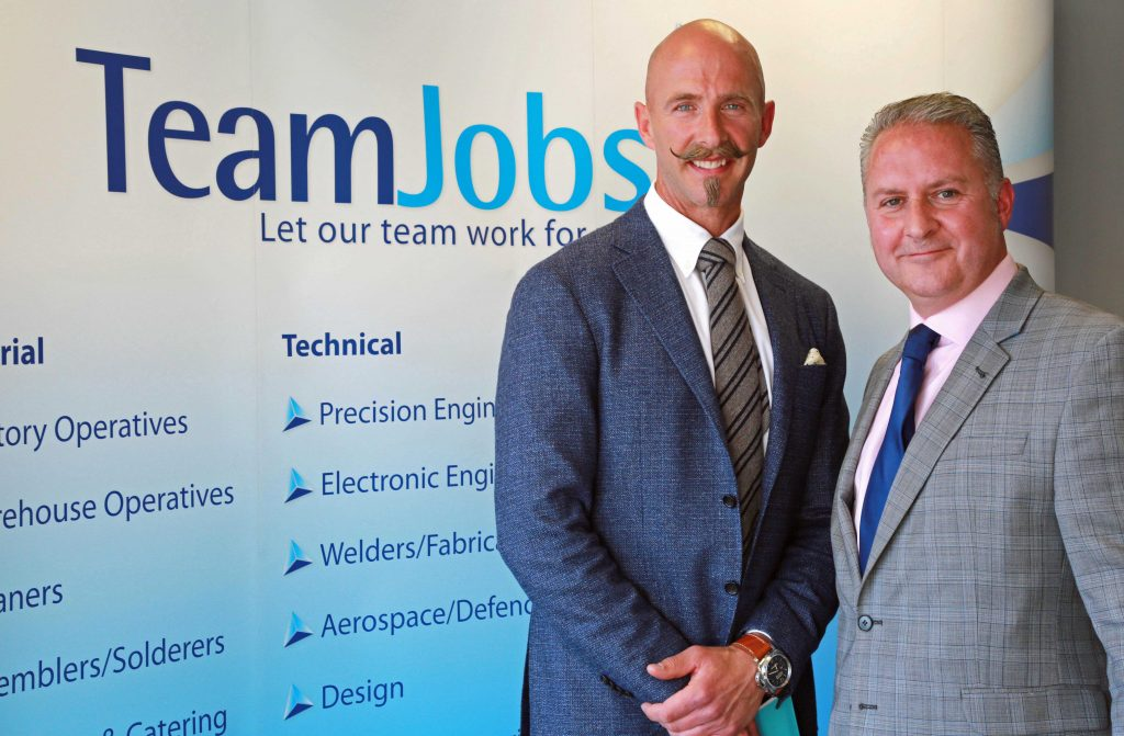 JUST THE JOB: TeamJobs managing director Jason Gault, left, and Dorset Chamber chief executive Ian Girling, right