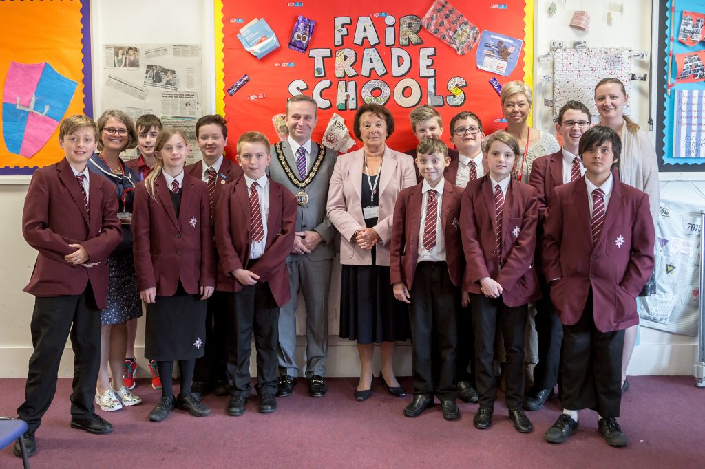 The team of Arnewood students who are re-creating New Milton's history using the popular computer game and app, Minecraft. As part of the project they interviewed Chair of Governors, Elizabeth Cook, and Mayor of New Milton, David Rice-Mundy.