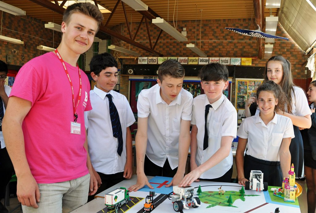 Avonbourne and Harewood College students designing robots with the help of Bournemouth University undergraduates as part of their STEAM week.