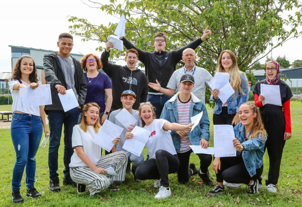 Students at Avonbourne and Harewood colleges receive their GCSE results.