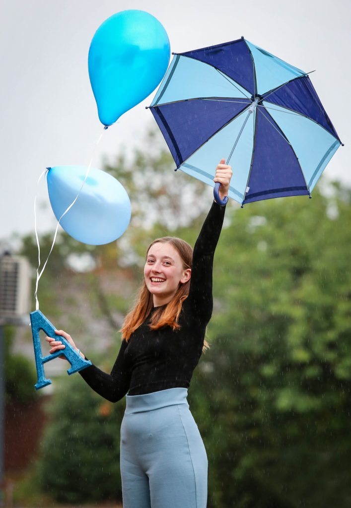 Sixth Form students at Avonbourne College receive their A Level results. Hannah Amey celebratres her A* and two As.