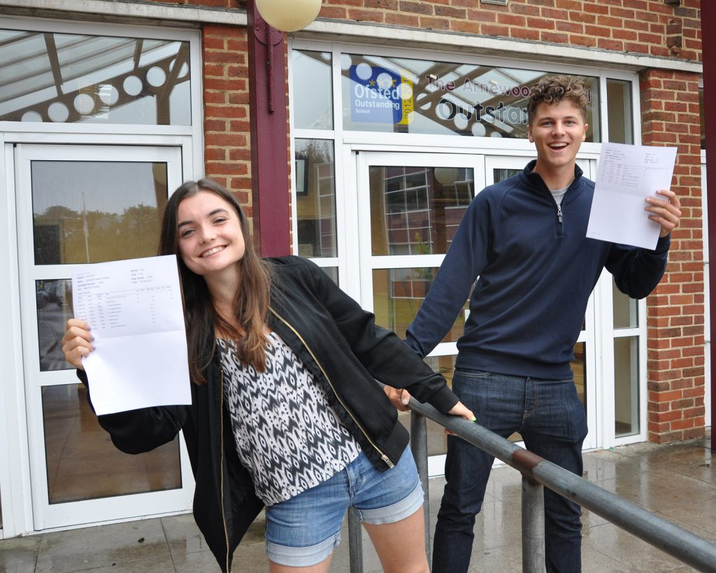A-level results day: Katherine Charles (A* x 3) and Raff Hussey (A* A B) received their A level results at Arnewood.