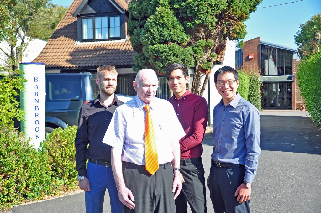 INNOVATION: From left: electronic engineering graduate Joe Stokes, Barnbrook Systems managing director Tony Barnett, electronic engineering graduate Kevin Jimenez and graduate engineer Jack Wei