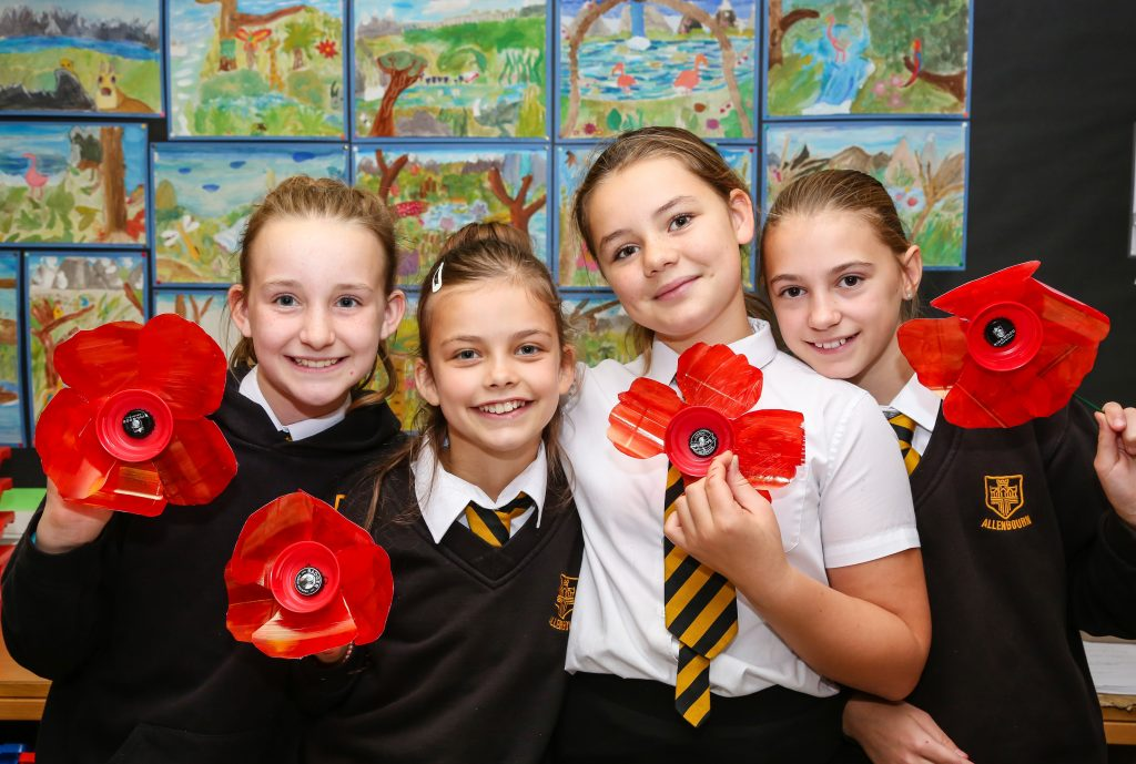 Allenbourn Middle School pupils are playing a big part in creating a poppy display in Wimborne Square to commemorate Armistice Day.
