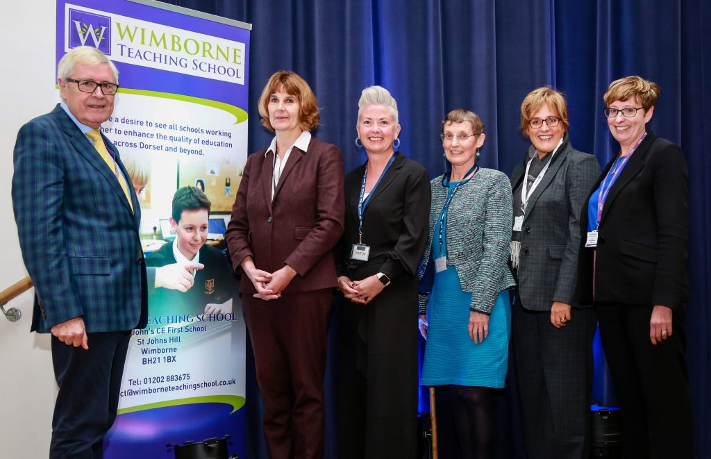 REMOVING BARRIERS: Wimborne Academy Trust inaugural conference at Queen Elizabeth School. Guest speakers Catherine Leahy, Kerry Brown, Kate Cairns and Sarah Conant with WAT Chair of Trustees John Dickson (far left) and CEO Liz West (far right).