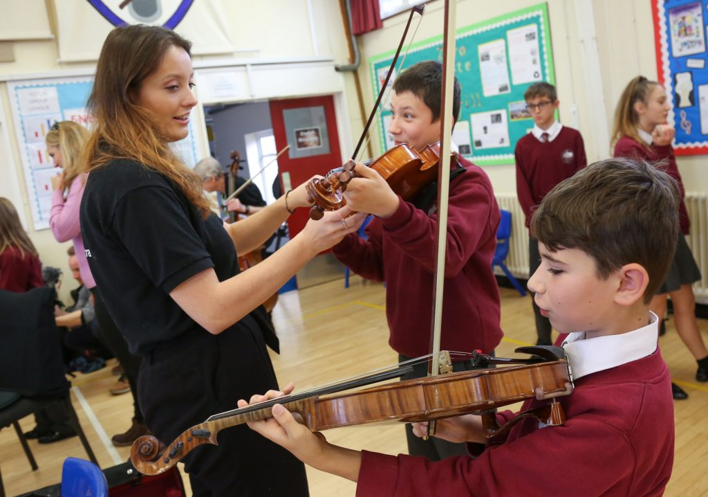 BSO Resound performed at Lockyer's Middle School in Corfe Mullen. Pupils talk to Violinist Siobhan Clough.