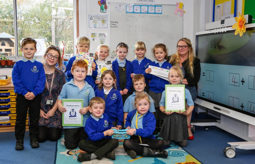 Fawley Infant School pupils and their Mastery Maths scheme.