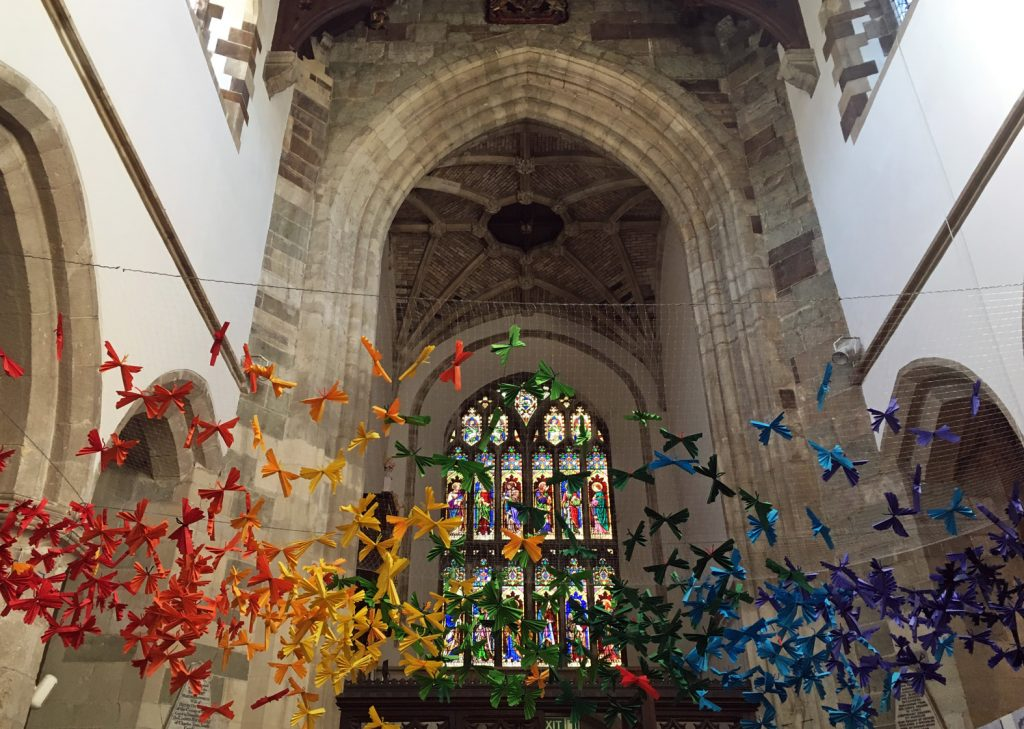 Children from Allenbourn Middle School created a poignant flight of butterflies at Wimborne Minster as a special mark of Remembrance for the 100th anniversary of the end of the First World War.