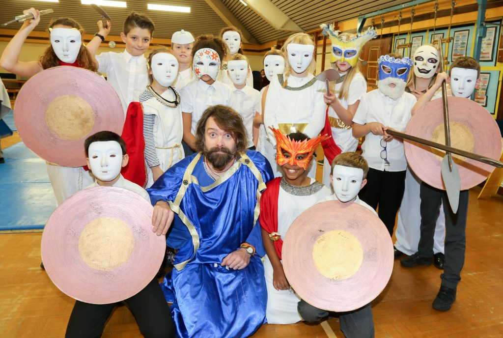 Pupils at Emmanuel Middle School enjoy taking part in 'War and Peace in Ancient Greece', a play-in-a-day with Ben Lindsey-Clark from Treehouse Theatre.