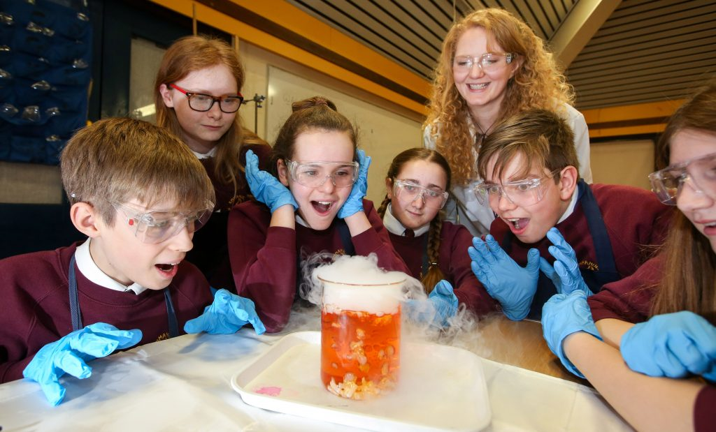 Angela Etheridge, head of science at Emmanuel Middle School in Verwood conducts live experiments with dry ice as part of the school's Science Week,