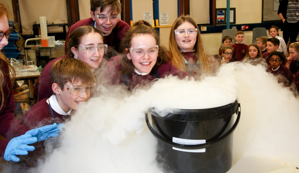 Students at Emmanuel Middle School in Verwood take part in live experiments with dry ice as part of the school's Science Week,
