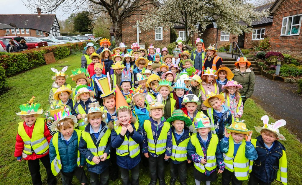 Witchampton CofE First School Easter bonnet parade.