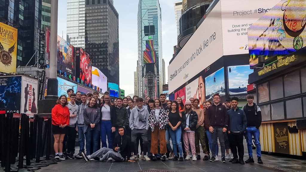 Arnewood students giving their regards to Broadway on a recent trip to New York.