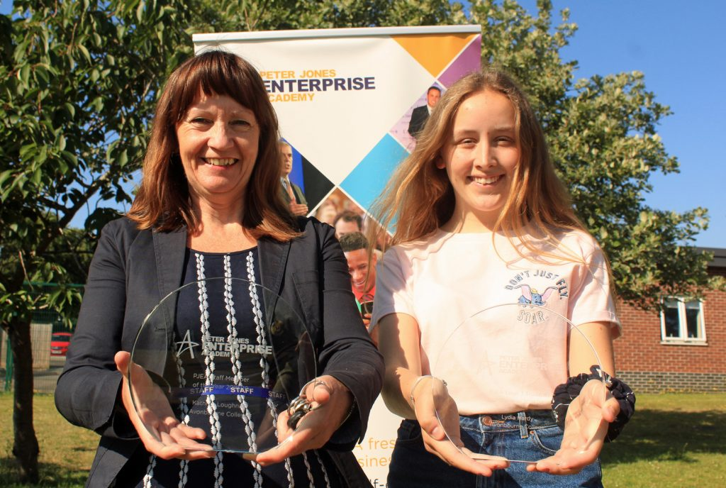 Avonbourne Trust scooped two major awards in the Peter Jones Enterprise Academy Awards. Director of Sixth Form, Kathryn Loughnan (left), won staff member of the year and sixth former Lydia Hardy (right) won student of the year.
