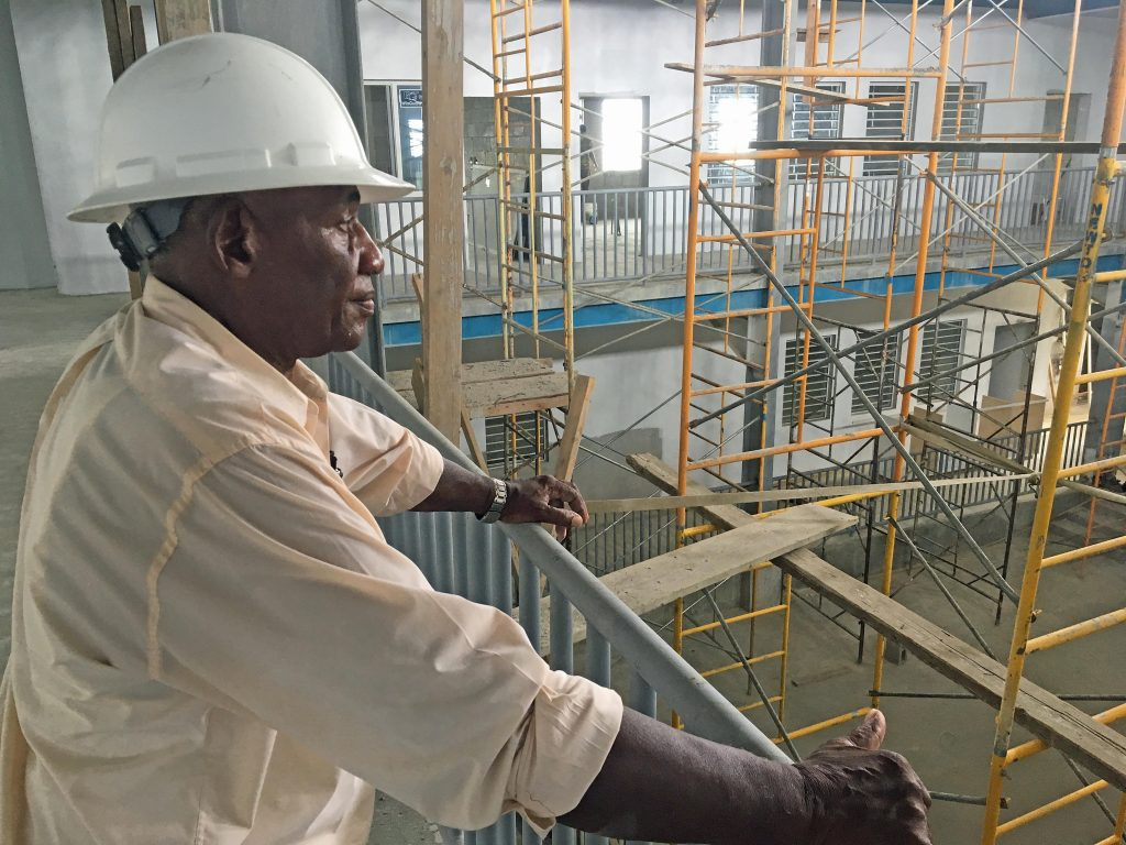 VIEW: Hesketh Newton, managing director of Newton Construction Co Ltd, surveys work inside the new Enis Adams primary school in Tortola in the British Virgin Islands