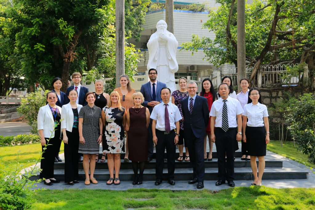 School leaders from Southampton, The New Forest and Shenzhen outside of Shenzhen Shiyan Public School. Kate Crawford third from left front row, Nigel Pressnell third from right front row.