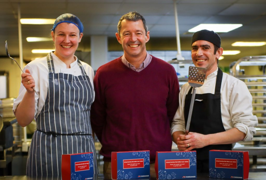 Former marine biologist Declan O'Toole (centre) has invested his love of the environment into producing green school meals at his Bournemouth-based Forerunner Catering company. Pictured with chefs Inga Boice and Jesse Uzell.