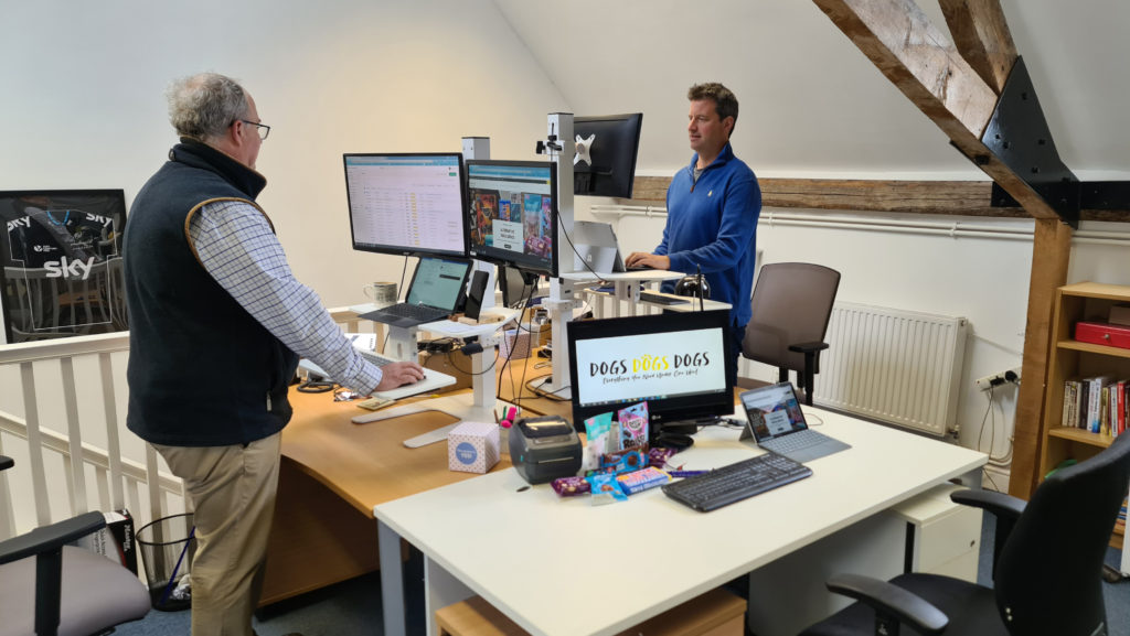 KICKSTART 1: Rupert Brown (left) and Jim Chetwode (right) of e-commerce agency We are Chain at 'stand up' desks in their offices at Berwick St Leonard, near Salisbury in Wiltshire