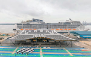LANDMARK: The first cruise ship – MSC Cruises' MSC Virtuosa – has arrived at the new, £55m Horizon Cruise Terminal in Southampton following its construction by Brymor Construction (Picture: ABP)