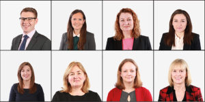 RISING STARS: Ellis Jones Solicitors has made eight promotions – the highest number at any one time. They are: Senior Associates, top row from left: William Dooley, Henrietta Frew, Donna Stevens and Bethanie Watson. Associates, bottom row, from left: Lauren Harley, Jennie Hedges, Theresa Mills and Jo Tout