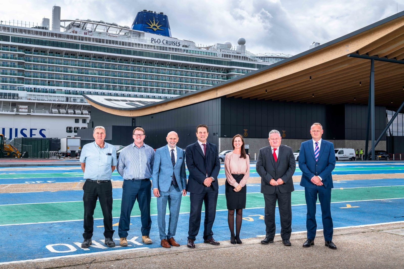 FIRST SIGHT: Brymor Construction directors with Horizon cruise terminal project managers. From left to right: contracts manager Andy Mathews, managing surveyor Peter Swift, chairman Stephen Morton, group managing director Mark Dyer, group HR Director Carmen Morton, group commercial director Paul Downing and group pre-construction director Lewis Archibald